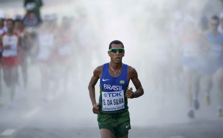 Da Silva of Brazil runs through the streets of Moscow during the men's marathon at the IAAF World Athletics Championships